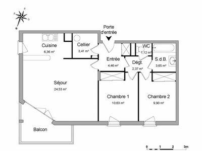 Vue n°3 Appartement 3 pièces à louer - VANNES (56000) - 66.43 m²